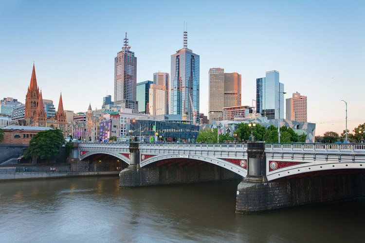 #6 Melbourne. Median Price: $740,000, Median Income: $78,200, Median Multiple: 9.5. Image © <a href='https://commons.wikimedia.org/wiki/File:Melbourne_Skyline_and_Princes_Bridge_-_Dec_2008.jpg'>Wikimedia user David Iliff</a> licensed under <a href='http://https://creativecommons.org/licenses/by/3.0/deed.en'>CC BY 3.0</a>