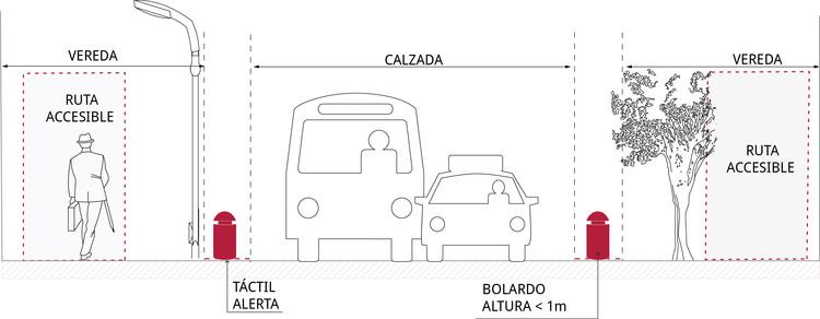 Bolardos en perfil urbano. Image © Corporación Ciudad Accesible