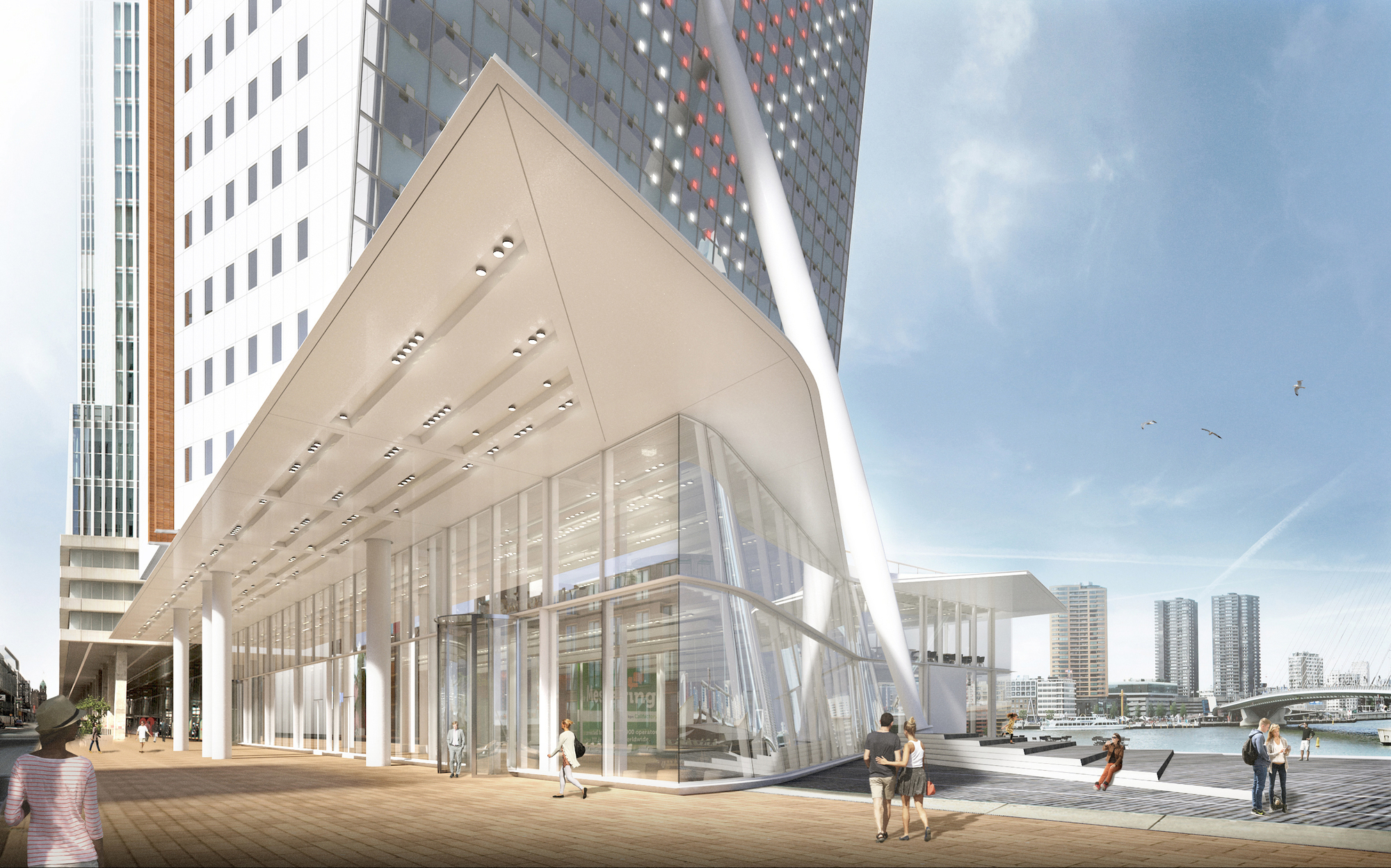 V8 architects to expand renzo piano 39 s tilted kpn tower in for Architecture rotterdam