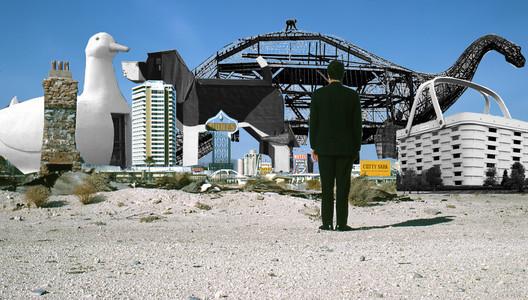 Collage based on a photograph of Robert Venturi. Original photograph © Denise Scott Brown