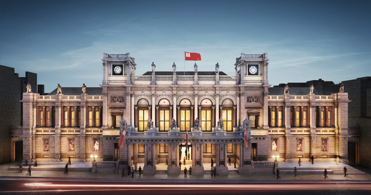 The Royal Academy's north-facing entrance, Burlington Gardens. Image © Hayes Davidson. Courtesy of Royal Academy of Arts