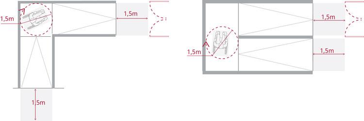 El ancho de la rampa está condicionado por el ancho de la vía de evacuación que enfrenta, comenzando y terminando su recorrido en un espacio plano de 1,5 metros fuera del barrido de puertas. Image © Corporación Ciudad Accesible