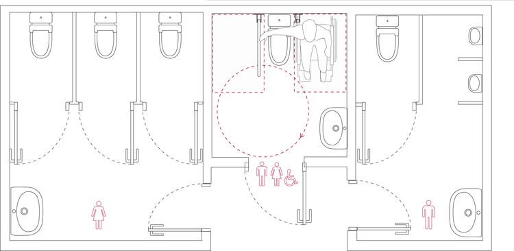 Baño accesible de entrada independiente. Este baño permite su uso con asistencia de una persona de cualquier sexo sin crear conflicto.. Image © Corporación Ciudad Accesible
