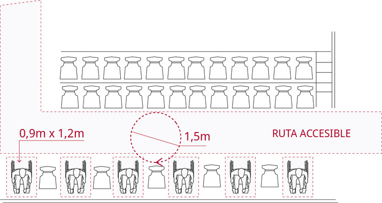 Espacios en graderías para espectadores en silla de ruedas, conectados a ruta accesible y con acompañante. Image © Corporación Ciudad Accesible