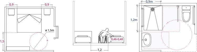 Espacios mínimos en habitación y baño accesible de hotel. Image © Corporación Ciudad Accesible