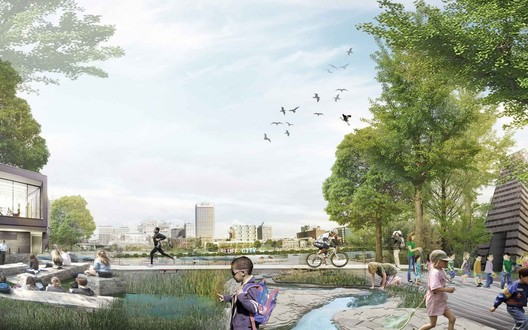 A variety of new plantings and structures that amplify Mud Island's river ecology can help transform the peninsula into an active place offering a diverse array of opportunities for learning, teaching, research, gathering, and simply enjoying the outdoors. Image Courtesy of Studio Gang