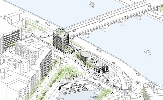 Axonometric view from the  Arsenal Basin. Image © SO – IL and laisné roussel