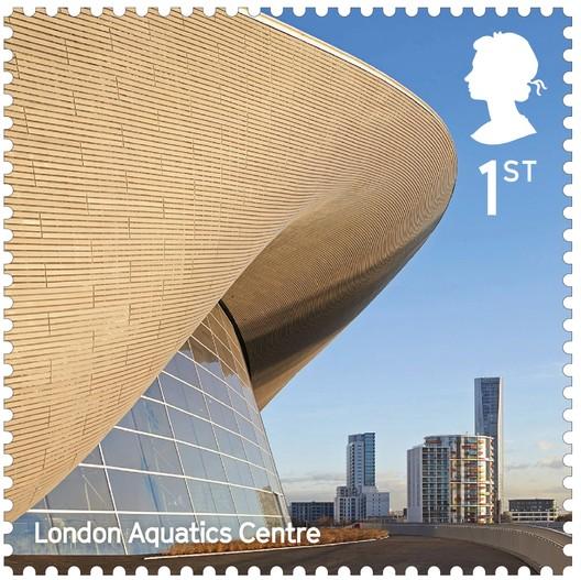 London Aquatics Centre for 2012 Summer Olympics / Zaha Hadid Architects. Image Courtesy of Royal Mail