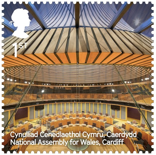 National Assembly for Wales / Rogers Stirk Harbour + Partners. Image Courtesy of Royal Mail