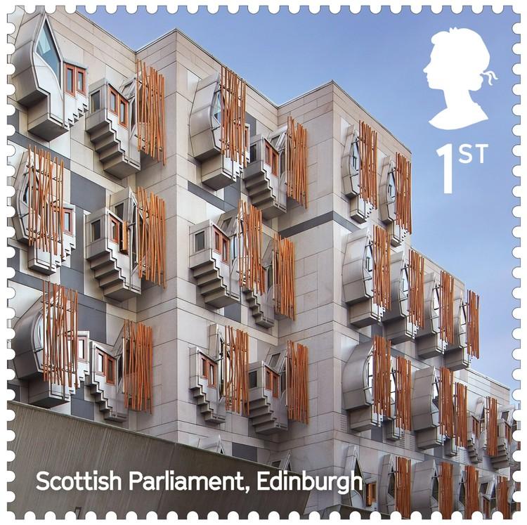 Scottish Parliament Building / EMBT. Image Courtesy of Royal Mail