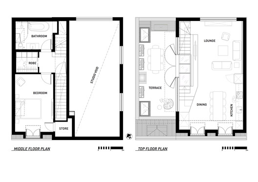First and top floor plans