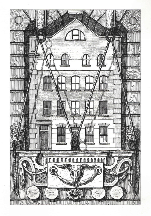 1 Haverstock Street, Haverstock Place, Islington, N1 8BX. Ink on Paper, 21 x 14 cm. Copyright Pablo Bronstein, 2017. Courtesy Herald St, London and Galeria Franco Noero, Turin. Image Courtesy of RIBA