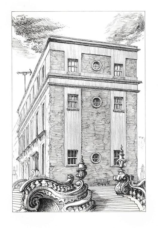 132-135 Sewardstone Road, Victoria Park E2 9JQ. Ink on Paper, 21 x 14 cm. Copyright Pablo Bronstein, 2017. Courtesy Herald St, London and Galeria Franco Noero, Turin. Image Courtesy of RIBA