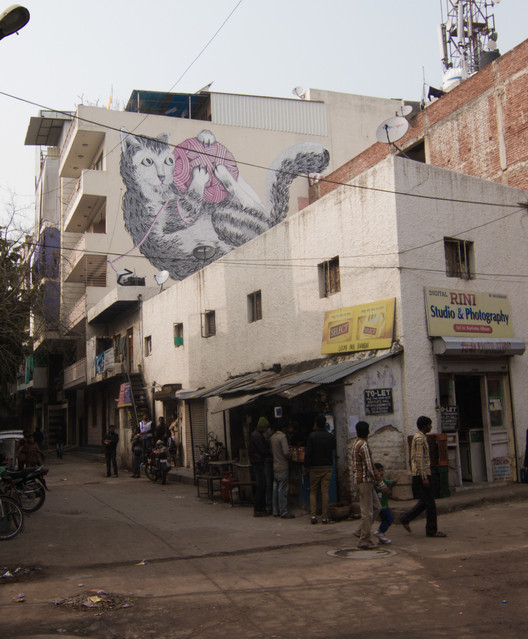 Cat mural by Anpu, Shahpur Jat, Delhi