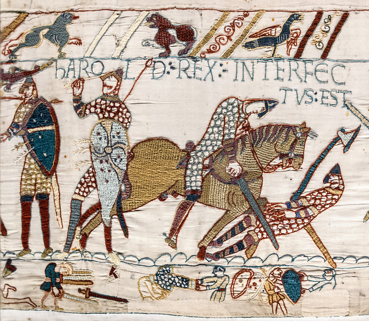 """Death of Harold (detail from the Bayeux Tapestry). © <a href=""""https://en.wikipedia.org/wiki/File:Bayeux_Tapestry_scene57_Harold_death.jpg"""">Wikimedia Commons user Myrabella</a> available in the Public Domain. Image Courtesy of Myrabella"""