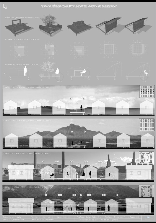 Espacio público como articulador de vivienda de emergencia. Image Cortesía de Cesar Guillen