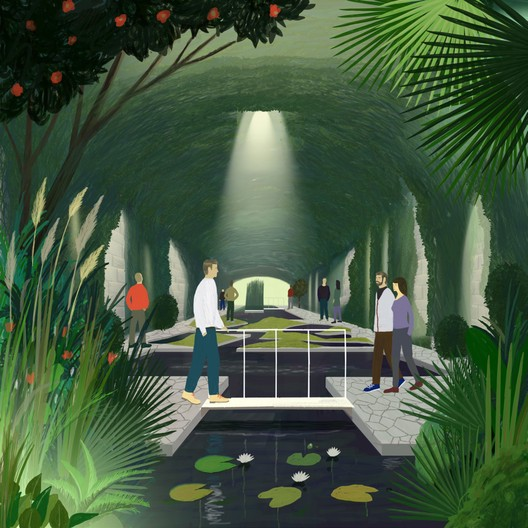 New use of Birsig underground river: botanical park. Image © KOSMOS