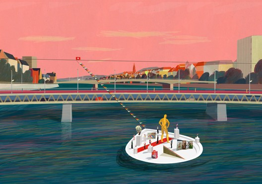 Floating art gallery: both infrastructure and public space. Image © KOSMOS