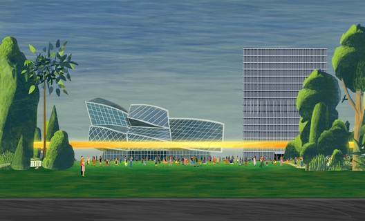De-fenced corporate campus, allowing people in (off the working hours).. Image © KOSMOS