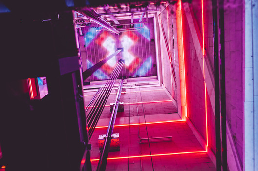 Lift with dynamic light show at the A'DAM Tower, Amsterdam. Designed by InventDesign, photography by Dennis Bouman. Image © InventDesign