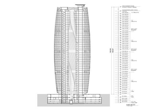 Section through atrium. Image Courtesy of Zaha Hadid Architects
