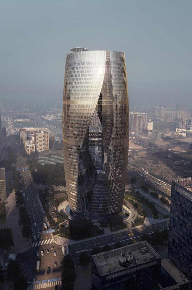 zaha hadid architects revela fotografas del atrio ms alto del mundo actualmente en construccin en