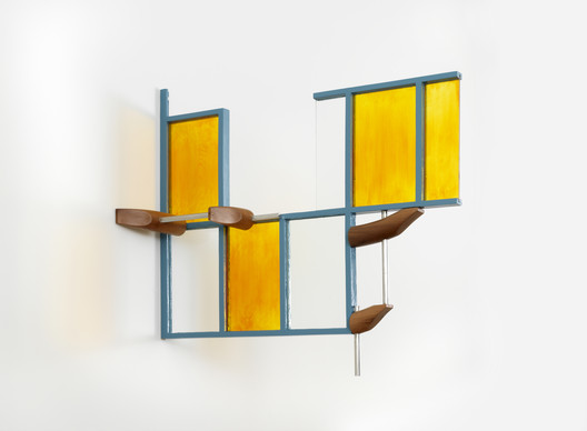 "Richard Rezac, Quimby (painted steel, plate glass, enameled plate glass, and cherry wood), 2017, Chicago. Courtesy of the artist. From the 2017 organizational grant to The Renaissance Society for ""Richard Rezac: Address"". Image courtesy of The Graham Foundation"