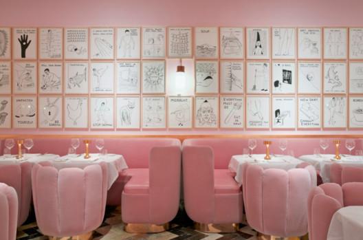 Sketch Restaurant, London. Image <a href='https://www.reddit.com/r/AccidentalWesAnderson/comments/6se4o1/sketch_restaurant_in_london/'>via Reddit user leprocto</a>