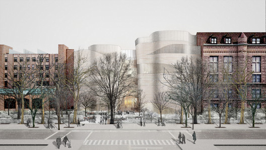 The view of the exterior façade of the Gilder Center from 79th Street and Columbus Avenue. Image © AMNH/D. Finnin