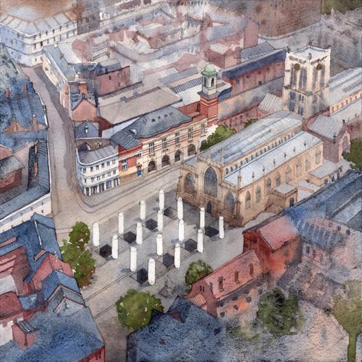 Pezo von Ellrichshausen, Hull pavilion, Hull, UK, 2017. (Aerial perspective, watercolour on paper, 22 x 22 cm, 2017). Image Courtesy of RIBA