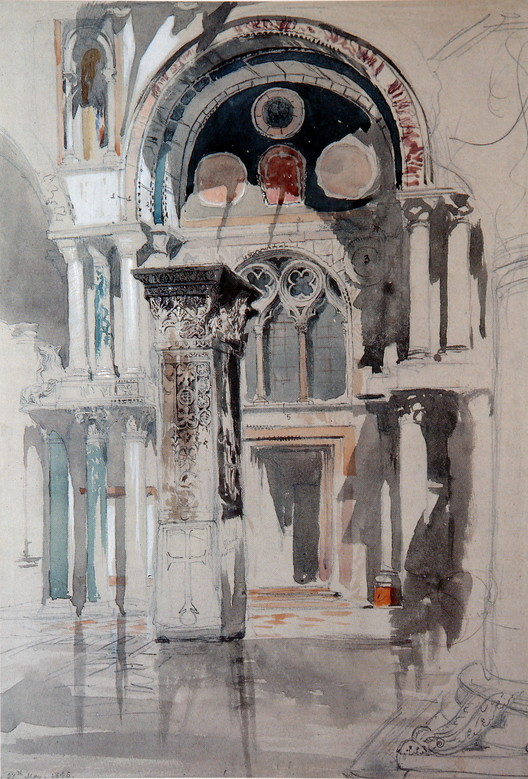 """<a href=""""https://commons.wikimedia.org/wiki/File:Part_of_St_Mark_Venice_Ruskin.jpg"""">Part of St Mark's, Venice, Sketch after rain. Pencil, watercolour, ink and bodycolour on grey paper, 42.1 x 28.6cm</a> (1846) licensed under Public Domain. Image Courtesy of John Ruskin"""