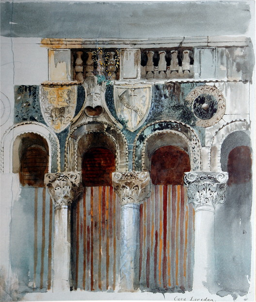 """<a href=""""https://commons.wikimedia.org/wiki/File:Study_of_the_Marble_Inlaying_on_the_Front_of_the_Casa_Loredan.jpg"""">Study of the Marble Inlaying on the Front of the Casa Loredan, Venice. Pencil, watercolour, and bodycolour, 32 x 26.7cm</a> (1845) licensed under Public Domain. Image Courtesy of John Ruskin"""