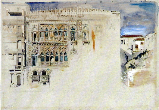 """<a href=""""https://commons.wikimedia.org/wiki/File:The_Casa_d_Oro_Venice_Ruskin.jpg"""">TheCasa d'Oro, Venice. Pencil and watercolour, with bodycolour, 33 x 47.6cm</a> (1845) licensed under Public Domain. Image Courtesy of John Ruskin"""