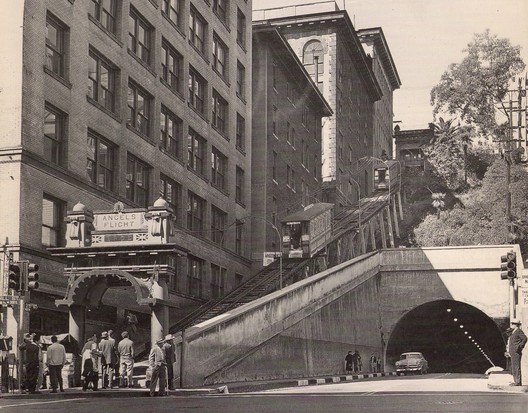 A 1955 photograph showing Angel's Flight in its original location © <a href='http://https://www.flickr.com/photos/7552532@N07/2566472239/'>Flickr user ATOMIC hot links</a>. Licensed under CC BY-NC-ND 2.0