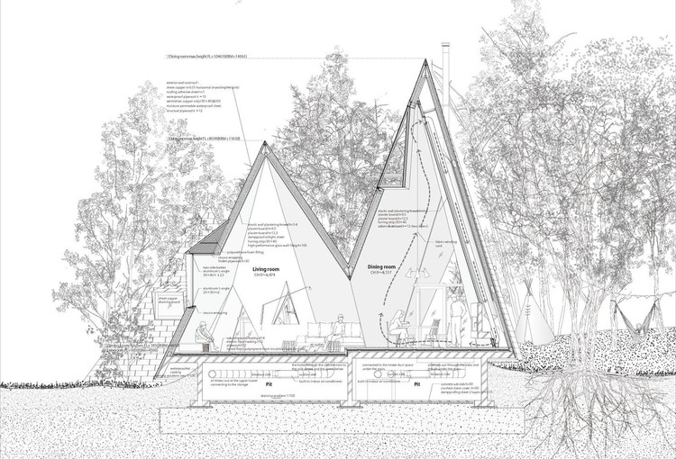 13 Houses with Pitched Roofs and their Sections, Section