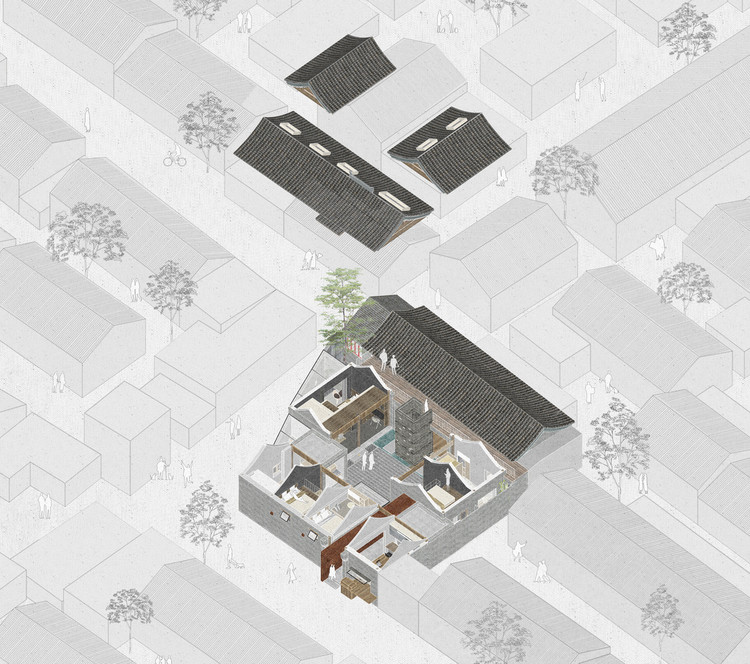 60 Best Residential Axonometric Drawings, White Pagoda Temple Hutong Courtyard Renovation / B.L.U.E. Architecture Studio