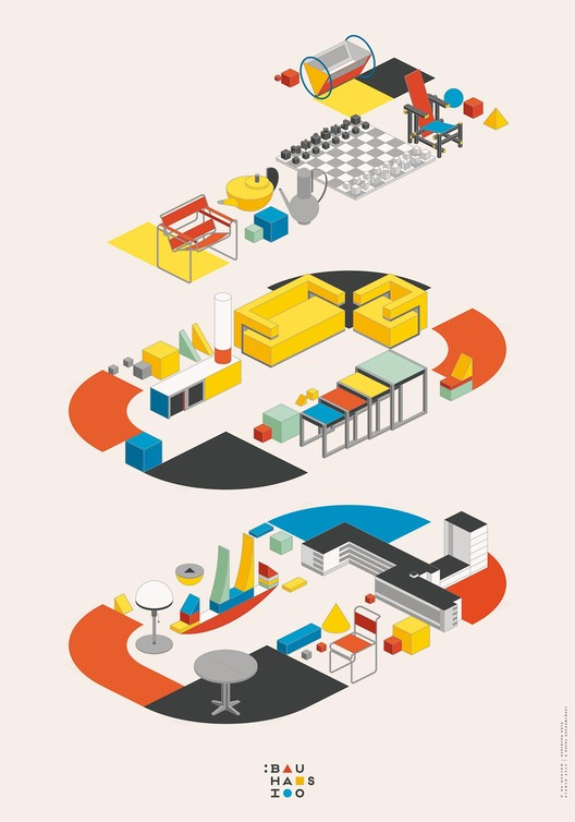 re:design Celebrates Bauhaus 100 with Illustrated Posters, Courtesy of re:design