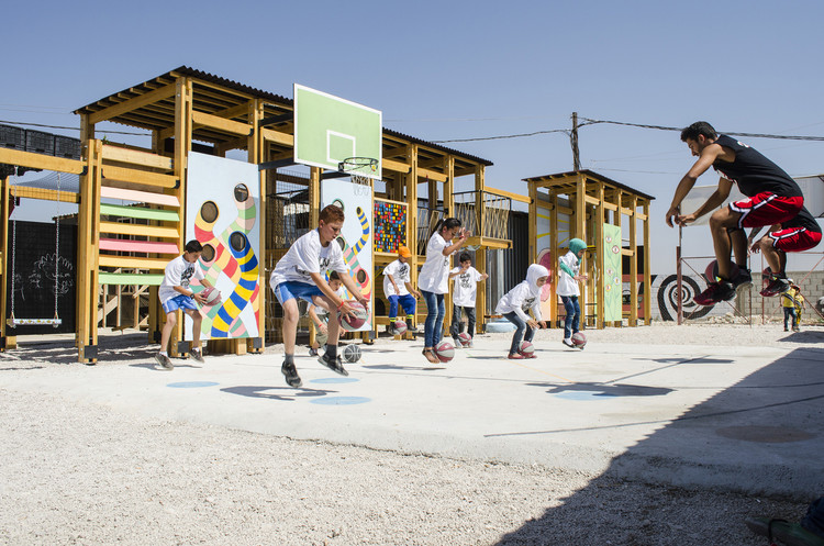 Beyond Refugee Housing: 5 Examples of Social Infrastructure for Displaced People, Playgrounds for Refugee Children in Bar Elias, Lebanon. Image Courtesy of CatalyticAction