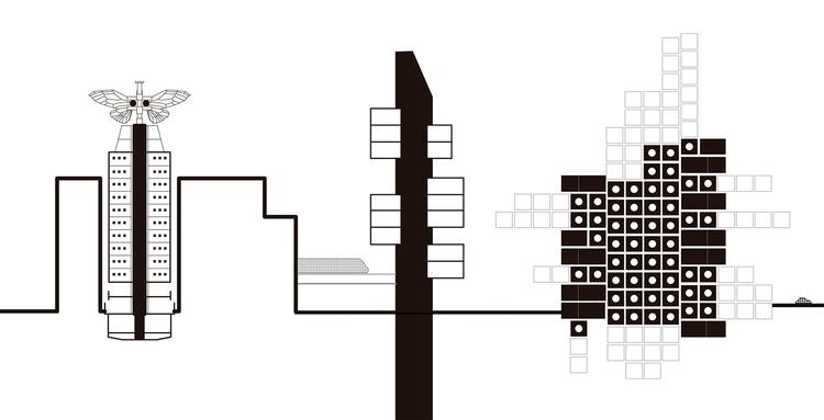 Tokyo Travel Diary: Architecture and Manga, Montagem feita a partir dos desenhos cedidos pelos autores. . Image Cortesia de a+t architecture publishers