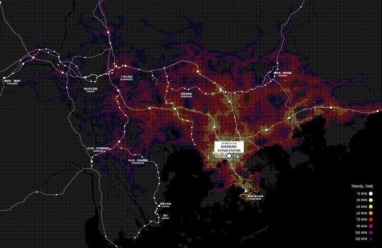 """The (E)motional Landscapes of the Extra-urban: How Does the Perception of Surroundings Evolve Through Mobility Innovation?, Isochrones in the Pearl River Delta. Thanks to a more accessible transit network, 49 million people would have access to public transit within 2 hrs from Futian Station.  (Image © MIC for the UABB 2019 """"Transforming the landscapes of mobility"""")"""