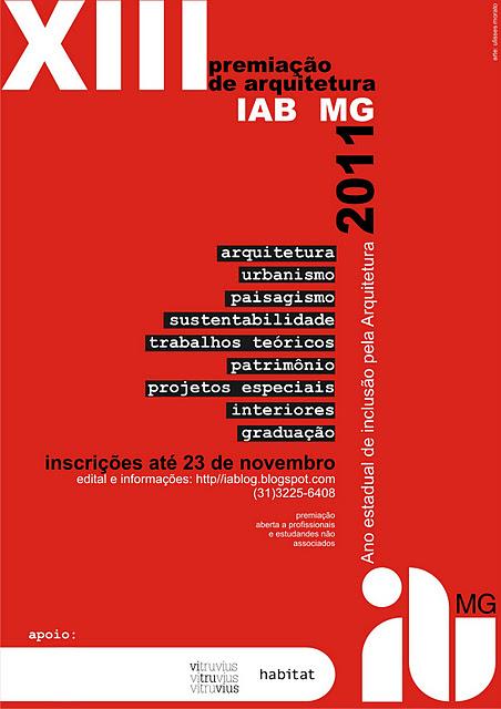 13ª Premiação  de Arquitetura IAB-MG 2011– Ano Estadual de Inclusão pela Arquitetura / Belo Horizonte - MG, Divulgação