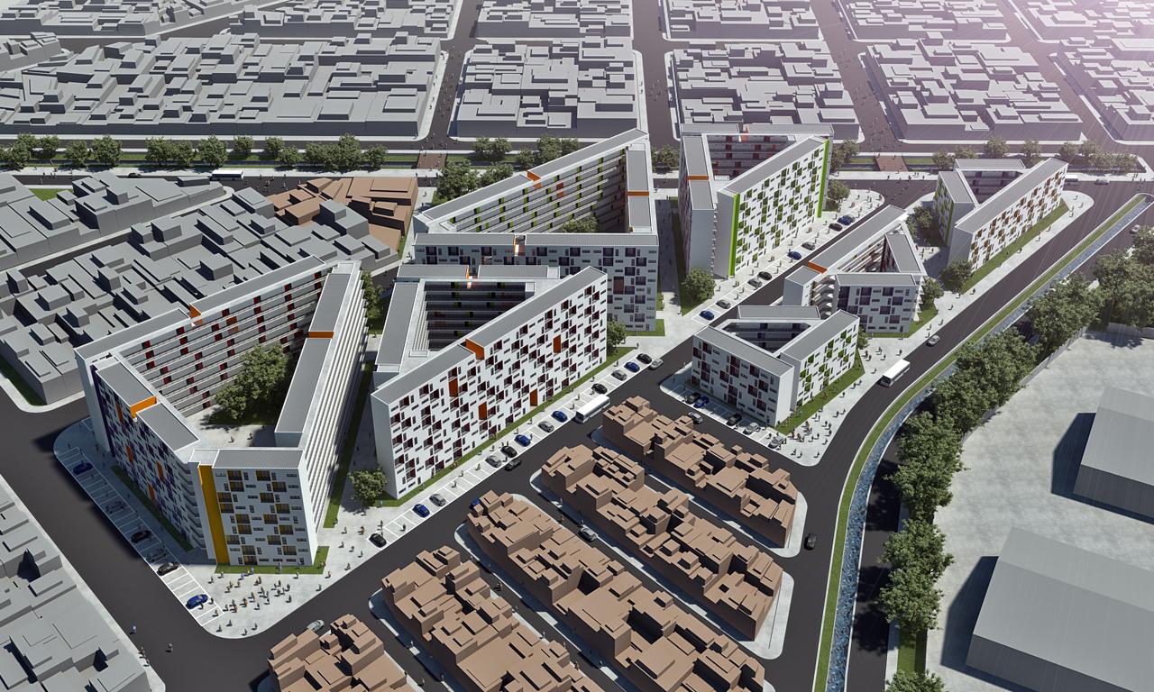 Concurso Renova SP - Grupo 2: Lote 13: Jardim Japão I / AUM arquitetos, Vista Aérea 1 - Cortesia AUM arquitetos