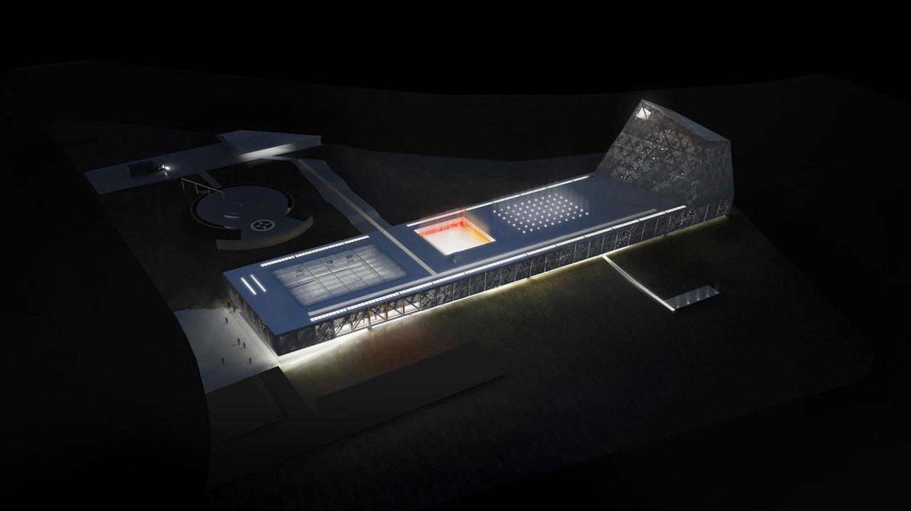 Museu Exploratório de Ciências da Unicamp - Primeiro Prêmio Concurso Internacional / Corsi Hirano Arquitetos, Vista Noturna Aérea