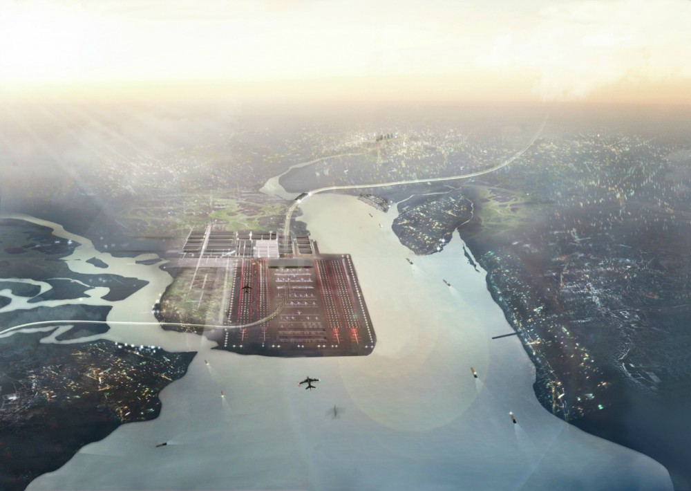 Foster + Partners propõe a construção de um aeroporto sobre o rio Tâmisa / Inglaterra, © Foster + Partners