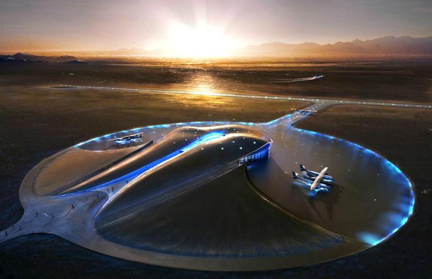 O novo aeroporto espacial de Norman Foster em Novo México, Vista Aérea 1
