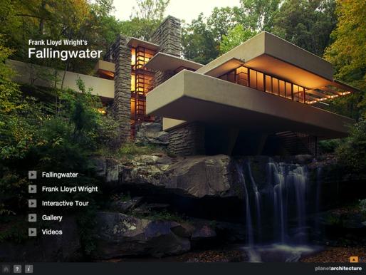 Agora você já pode visitar a Casa da Cascata de Frank Lloyd Wright interativa!, Imagem via iTunes