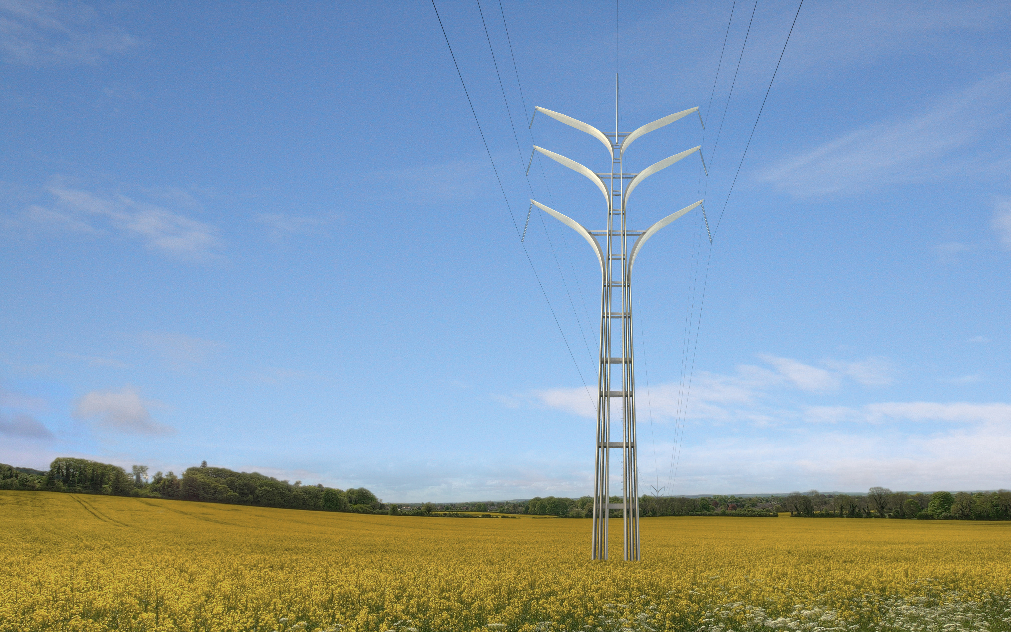 Projetos Finalistas do Concurso de Torres de Alta Tensão na Inglaterra, 3° Lugar : Flower Tower – Gustafson Porter