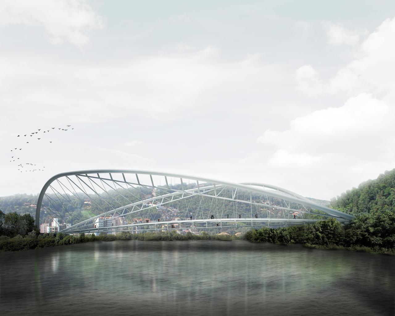 1° Lugar no Concurso Nacional de Arquitetura Ponte e Passarela em Blumenau / Estudio America, © Cortesia Estudio America