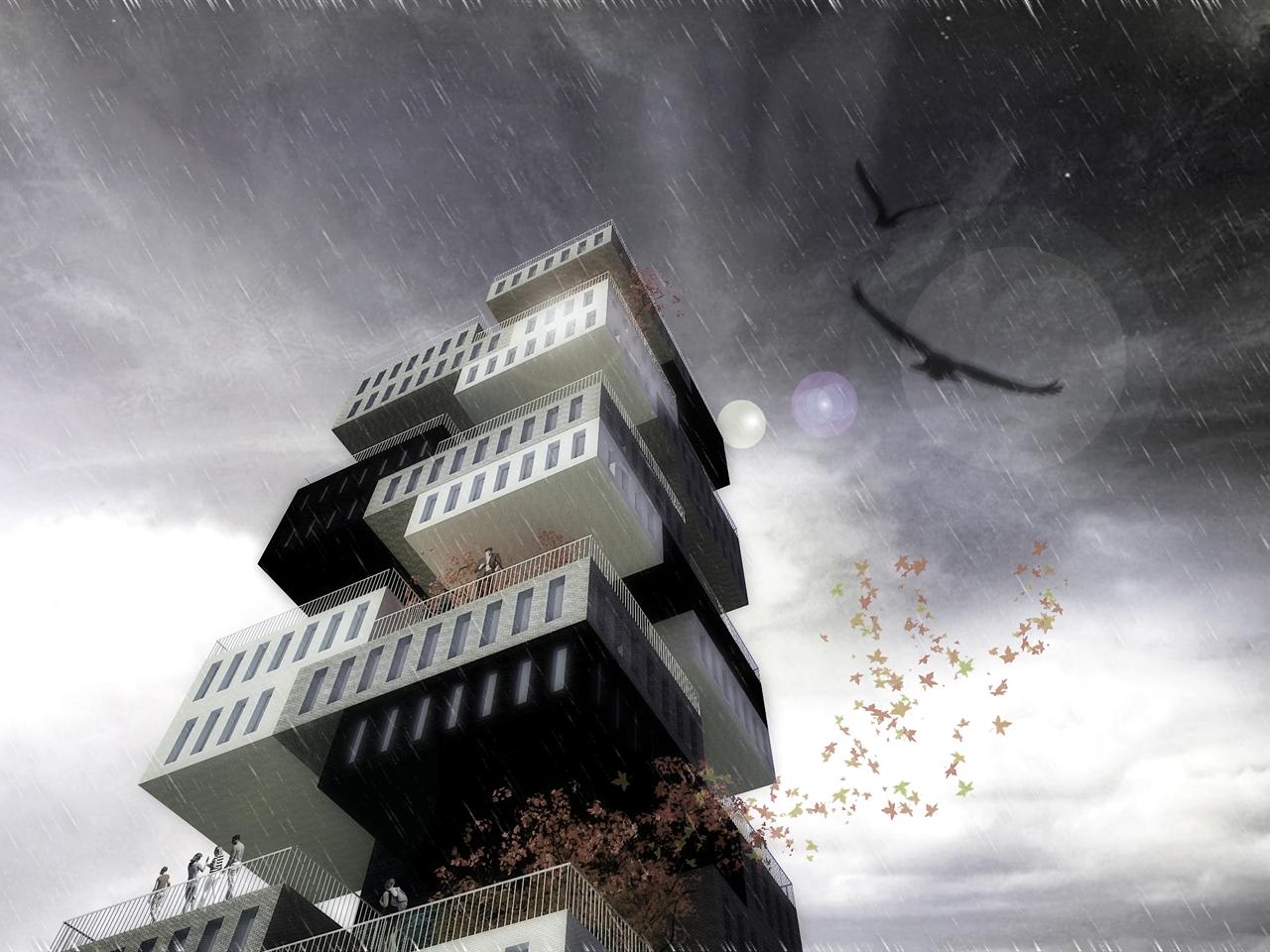 Proposta para o Concurso Europan 11 – Leeuwarden Housing / OODA + OOIIO, Cortesia OODA + OOIIO