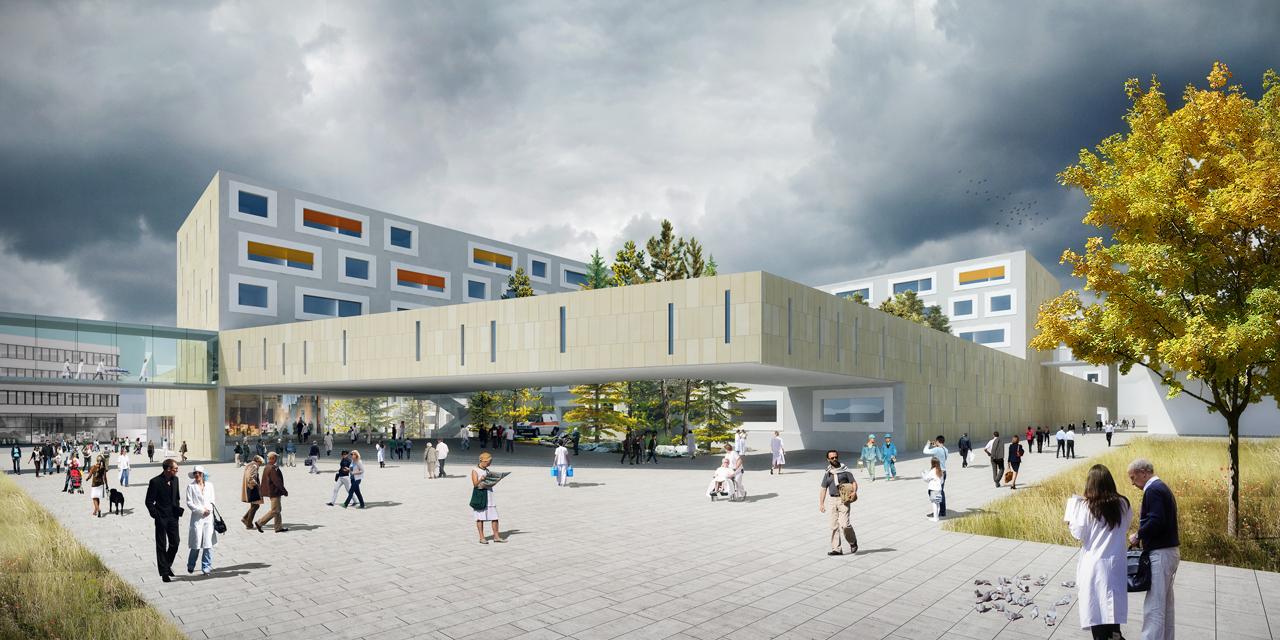 1º Lugar Concurso Internacional - Ampliação do Hospital Regional de Salzburg / Atelier Thomas Puncher, © Atelier Thomas Puncher